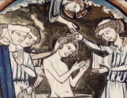 """Scena chrztu w XIII-wiecznym manuskrypcie """"Bible moralisée""""."""