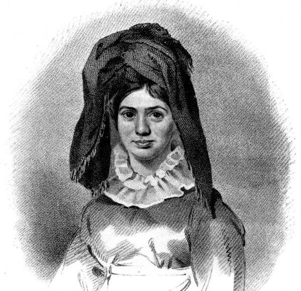Dzięki egzotycznej urodzie i bujnej fantazji Caraboo wydała się wiarygodna w roli księżniczki zza mórz. Grawerowana grafika N. Branwhite'z (źródło: domena publiczna).