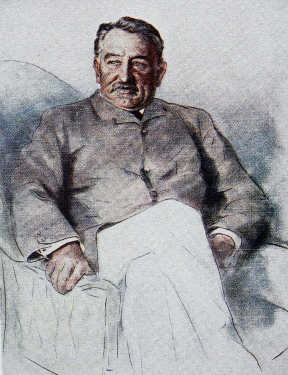 Cecil Rhodes na szkicu powstałym rok przed jego śmiercią. Czyżby na tej wcale niezbyt starej twarzy malował się strach przed polską prześladowczynią? Szkic Mortimera Menpesa (źródło: domena publiczna).