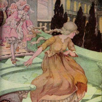 Kopciuszek gubi swój pantofelek uciekając z balu. Ilustracja Anne Anderson (źródło: domena publiczna).