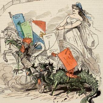 Karykatura Bertalla z pisma Grelot z 1871 roku. W wyścigu wyborczym Francuzi mieli wybór między hydrą anarchii, rydwanem Republiki zaprzężonym w łabędzia legitymistycznego, orleańskim kogutem, napoleońskim orłem i wiejskim koniem pociągowym (źródło: domena publiczna).