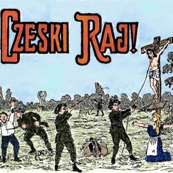 Fragment polskiej ulotki propagandowej z lat 20. XX wieku, przedstawiającej Czechów jako bezbożników, którzy nie uznają żadnych świętości (źródło: domena publiczna).