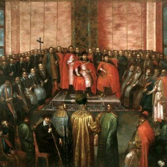 Stanisław Żółkiewski przedstawia królowi Zygmuntowi III i królewiczowi Władysławowi pojmanego cara Wasyla Szujskiego. Obraz Tomasza Dolabelli (źródło: domena publiczna).