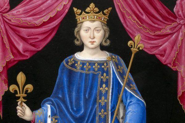 """Król Filip IV Piękny zmarł pół roku mistrzu templariuszy, co tylko wzbudziło falę plotek o klątwie... (Obraz z """"Pocztu królów Francji"""" Jeana du Tillet z XVI wieku, domena publiczna)."""