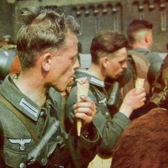 German soldiers eat enjoying ice cream Brussels 17 May 1940