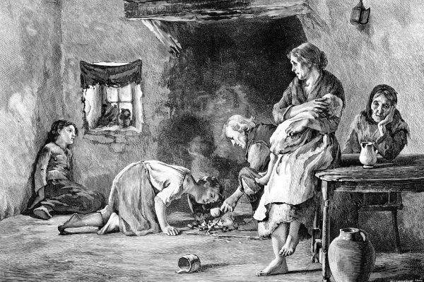 Zaraza ziemniaczana, dla ludności ubogiej Irlandii, była właściwie wyrokiem śmierci (źródło: domena publiczna).