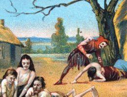 XIX-wieczny rysunek przedstawiający skutki głodu w średniowiecznej Europie (źródło: domena publiczna).