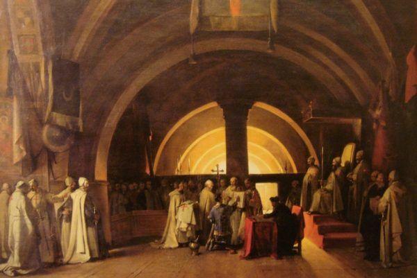 Zanim zaczął się proces, templariusze byli poważanym zakonem. Na ilustracji autorstwa François Mariusa Graneta współczesne wyobrażenie wyświęcenia Jakuba de Molaya (źródło: domena publiczna).