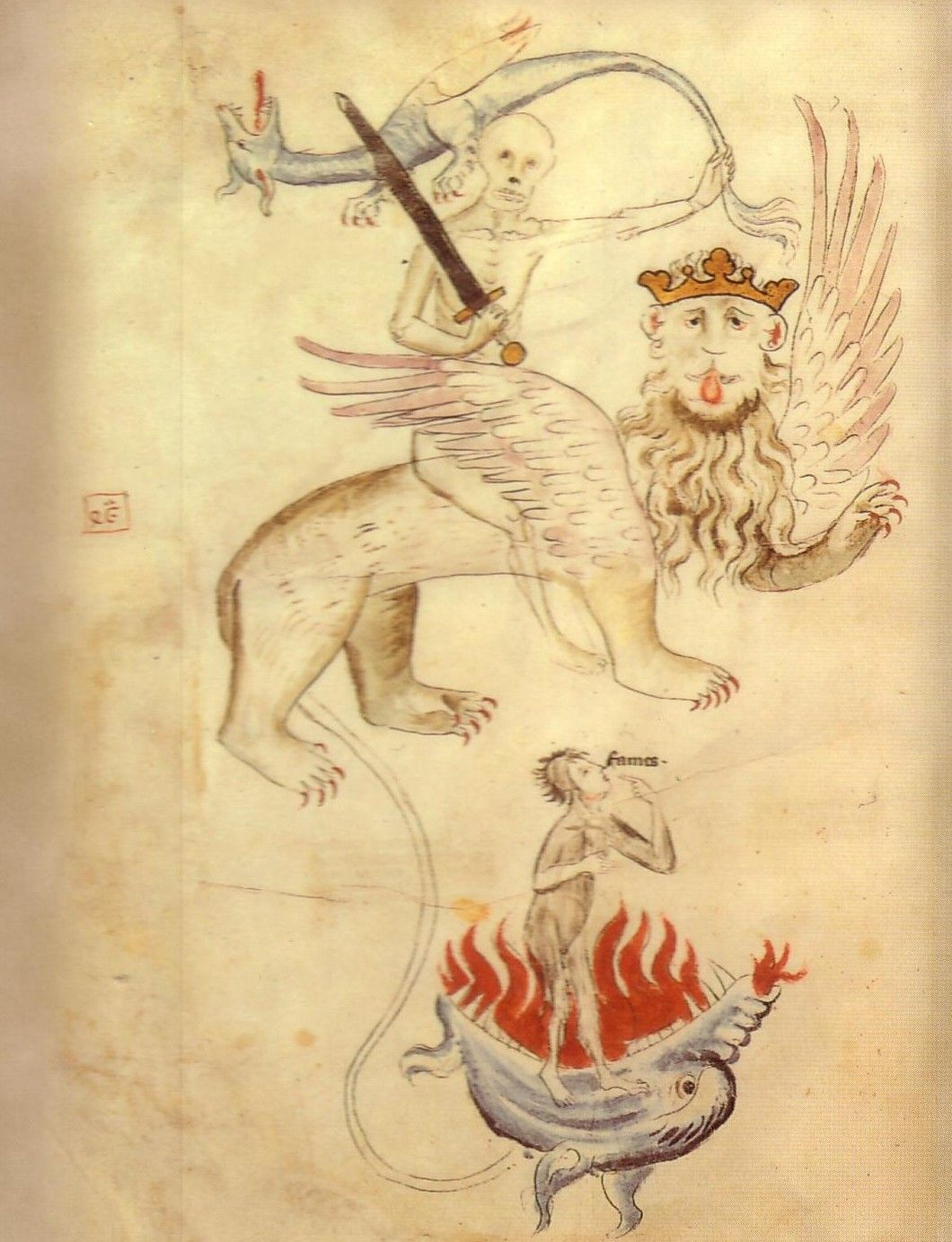 """W latach 1315-1317 klęska głodu kosztowała życie aż sześć milionów Europejczyków! Powyżej ilustracja z """"Biblia Pauperum"""", na której przedstawiono śmierć oraz głód (źródło: domena publiczna)."""