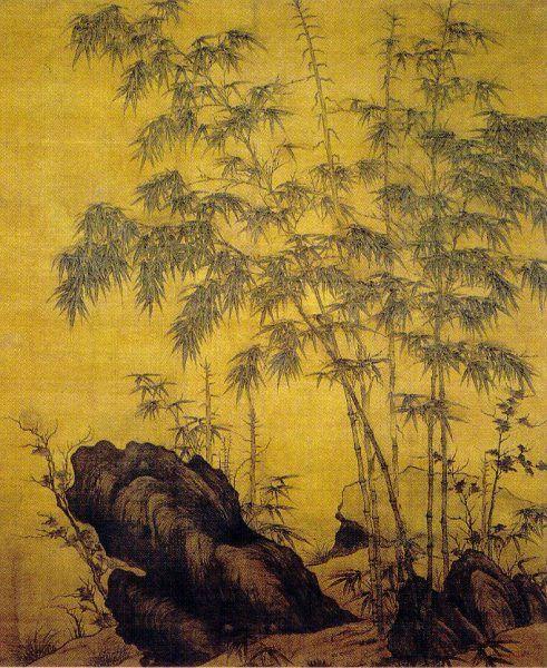 Shen Kuo zauważył skamieliny bambusu w miejscu, gdzie ta roślina nie występowała. Wykoncypował, że to oznacza, iż klimat zmienia się w czasie. Na ilustracji dzieło chińskiego artysty Li Kana (1244-1320) (źródło: domena publiczna).
