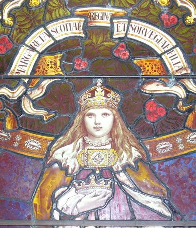 Mała Małgorzatka zmarła po czterech latach panowania, nie stanąwszy nigdy w swym królestwie. Fragment witraża (fot. Colin Smith, lic. CC BY-SA 2.0).