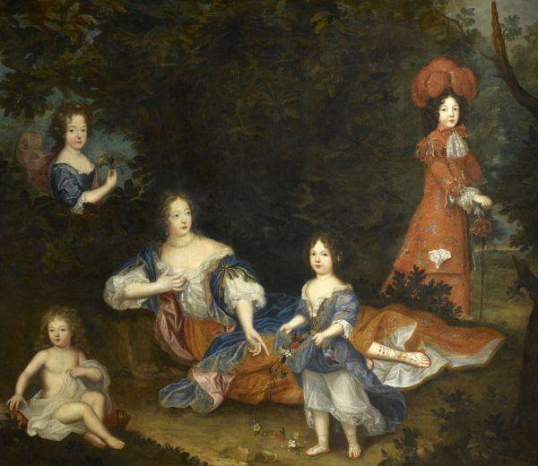 Pani Montespan z dziećmi z jej związku z królem. Wbrew tej sielankowej wizji kochanka królewska niezbyt interesowała się swymi pociechami, zostawiając ich wychowanie na barkach Kopciuszka. Obraz z 1680 roku (źródło: domena publiczna).