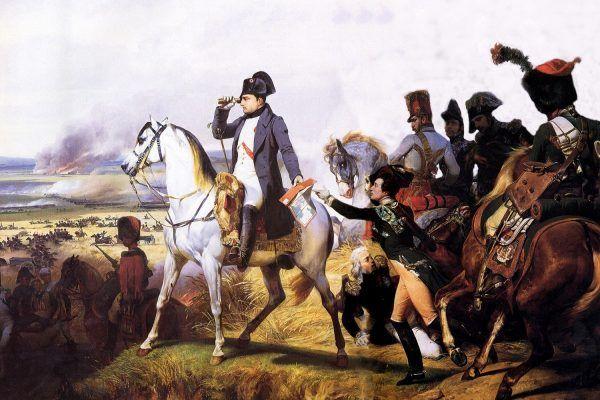 """Czy żołnierze Napoleona ruszali do walki z bagietkami wystającymi z kieszeni spodni? Jak się okazuje, nic z tych rzeczy… Oobraz Horacego Verneta """"Napoleon pod Wagrami"""" (źródło: domena publiczna)."""