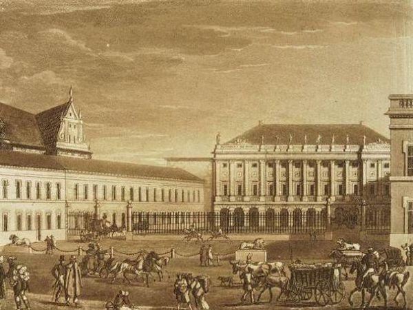 Z obecnego Pałacu Prezydenckiego Marcin Lubomirski zrobił jaskinię hazardu i centrum imprezowe. Pocztówka z 1820 roku, kiedy budynek nosił nazwę Pałacu Namiestnikowskiego (rycina Fryderyka Dietricha, domena publiczna).