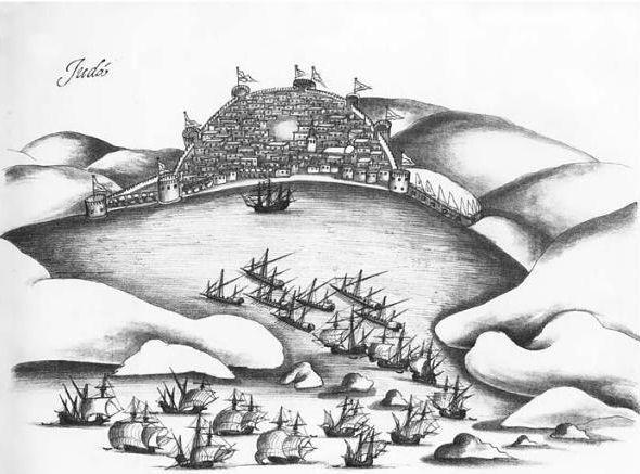 Portugalska flota próbuje zająć Dżeddę, rok 1517 (źródło: domena publiczna).