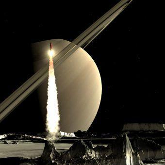 Artystyczna wizja rakiety startującej z powierzchni księżyca Saturna (rys. DasWortgewand, CC0 Public Domain).