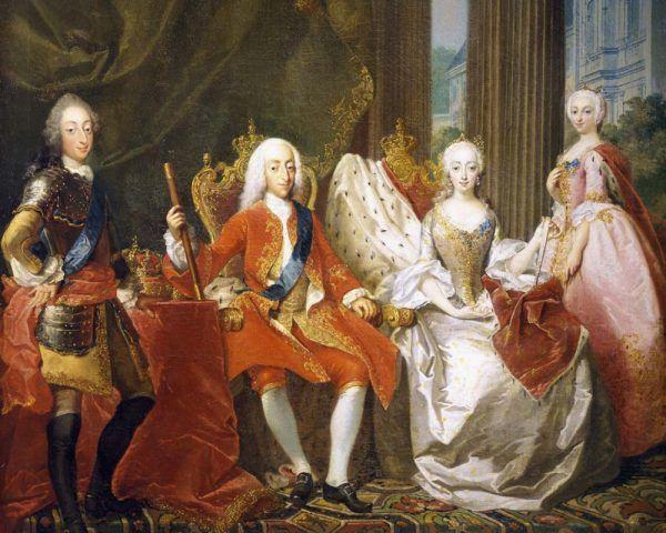 Rodzina Chrystiana VI - król z żoną i dwójką dzieci w 1744 roku. W tej konfiguracji nie było miejsca dla rzekomej nieślubnej córki o pięciu imionach. Fragment obrazu Carla Marcusa Tuschera (źródło: domena publiczna).