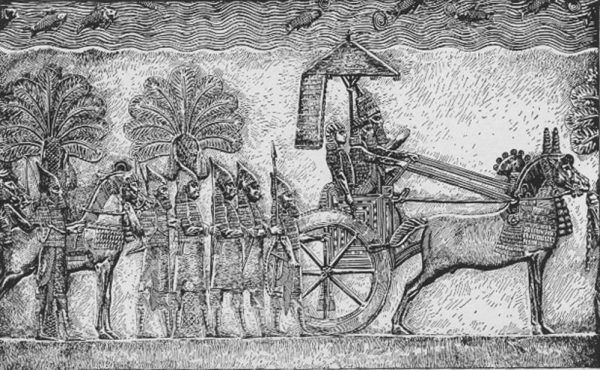 Płaskorzeźba przedstawiająca króla Sennacheryba na czele swoich wojsk (źródło: domena publiczna).