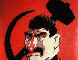 Czy Stalin miał na rękach krew 100 milionów ludzi? Na ilustracji fragment niemieckiego plakatu propagandowego z czasów II wojny światowej (źródło: domena publiczna)