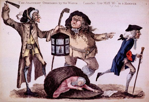 Wykradanie zwłok było na tyle powszechne, że trzeba było zatrudniać specjalne straże, pilnujące mogił w nocy. Na ilustracji autorstwa Williama Huntera członkowie straży przeganiają medyka, który porzuca wykopane ciało (źródło: domena publiczna).