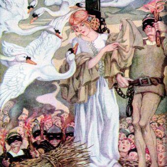 """W oczach wielu opisane księżniczki zasługiwały na każdą karę. Ilustracja Anne Anderson do baśni """"Sześć łabędzi"""" (źródło: domena publiczna)."""