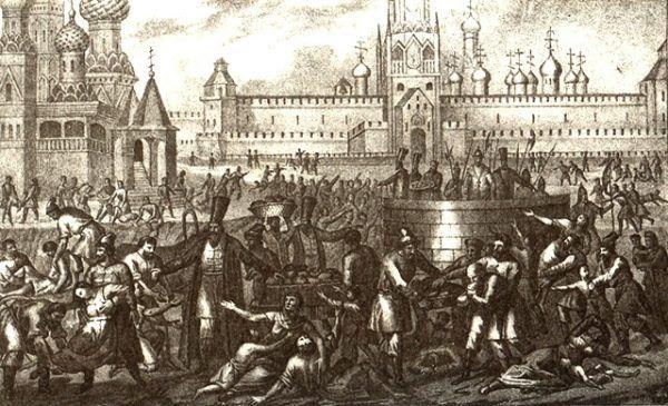 W latach 1601-1603 w samej tylko Moskwie z powodu głodu zmarło 100 tysięcy ludzi. Powyżej XIX-wieczna ilustracja przedstawiająca dantejskie sceny rozgrywające się w stolicy Rosji.
