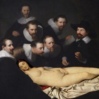 """XIX-wieczni mężczyźni tylko myśleli o tym, jak wyciąć kobiecie narządy intymne (montaż """"Lekcji anatomii doktora Tulpa"""" Rembrandta oraz """"Śpiąca Wenus"""" Giorgionego; domena publiczna)."""