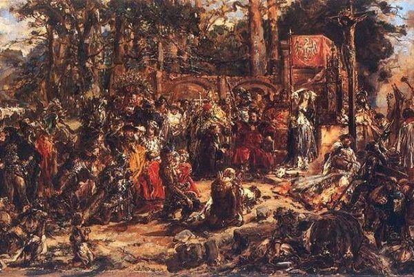 """Aby utorować sobie drogę do korony, Jagiełło kilkanaście dni wcześniej przyjął chrzest. Obraz Jana Matejki """"Chrzest Litwy"""" (źródło: domena publiczna)."""