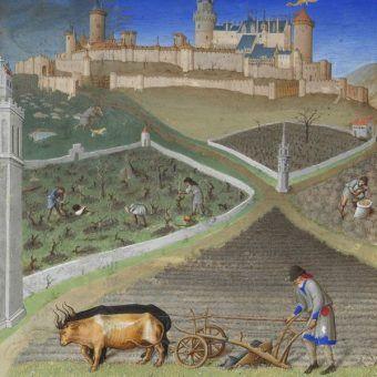 """Marzec. Ilustracja z """"Bardzo bogatych godzinek księcia de Berry"""" (autorstwo: Bracia Limburscy, domena publiczna)."""