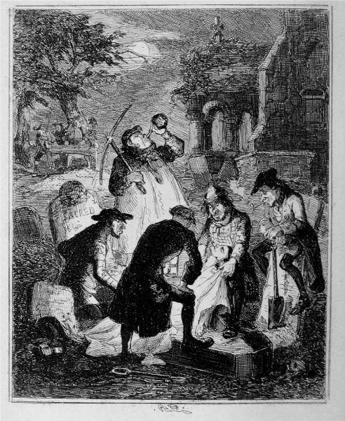 """Rabowaniem grobów zajmowali się studenci medycyny, lekarze, a także """"profesjonalni porywacze ciał"""", zwani rezurekcjonistami. Ilustracja Hablota Knighta Browne'a """"Resurrectionists"""" (źródło: domena publiczna)."""