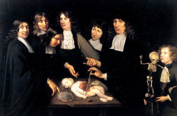 """Medycyna nie mogłaby się rozwijać, gdyby nie przeprowadzano sekcji zwłok. Dla wielu była to jednak profanacja doczesnych szczątków, przed którą należało chronić bliskich zmarłych. Na ilustracji obraz Jana van Necka """"Lekcja anatomii Dr. Frederika Ruyscha"""" (źródło: domena publiczna)."""