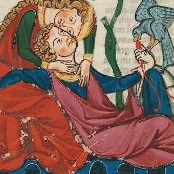 """Tak cię kocham, że aż ci zmienię imię! Ilustracja z niemieckiego """"Kodeksu Manesse""""."""