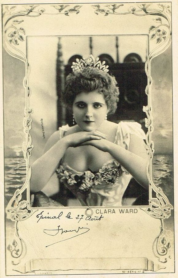 Clara Ward w romantycznie-sentymentalnej pozie na pocztówce z miejscem na autograf (źródło: domena publiczna).