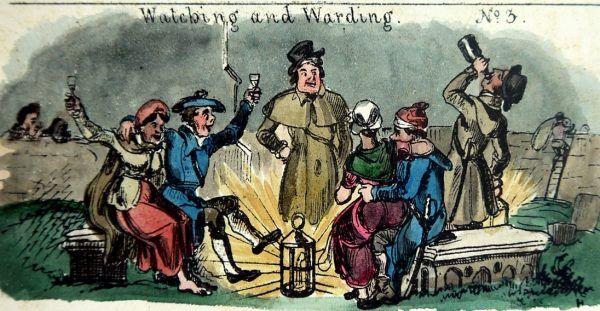 """Na wsiach, zamiast specjalnie wynajętych strażników, zwłok pilnowali okoliczni mieszkańcy. Warta przy ognisku mogła zamienić się w zakrapianą biesiadę, co skrzętnie wykorzystywali """"porywacze ciał"""". Ilustracja pochodzi z """"The Glasgow Looking Glass"""" czasopisma obrazkowego z I połowy XIX wieku (źródło: domena publiczna)."""