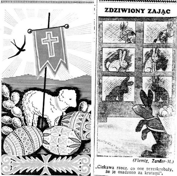"""Okolicznościowe wielkanocne grafiki wydrukowane w """"Nowym Kurierze Warszawskim""""."""