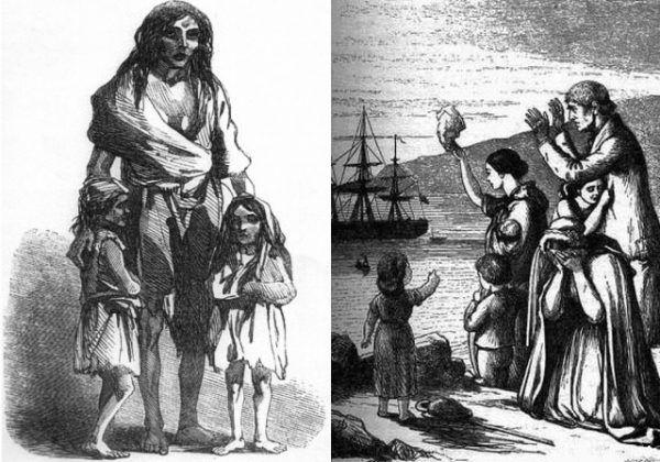 Klęska głodu z lat 1845-1849 kosztowała życie około miliona Irlandczyków, drugie tyle musiało opuścić wyspę, emigrując głównie do Stanów Zjednoczonych (źródło: domena publiczna).