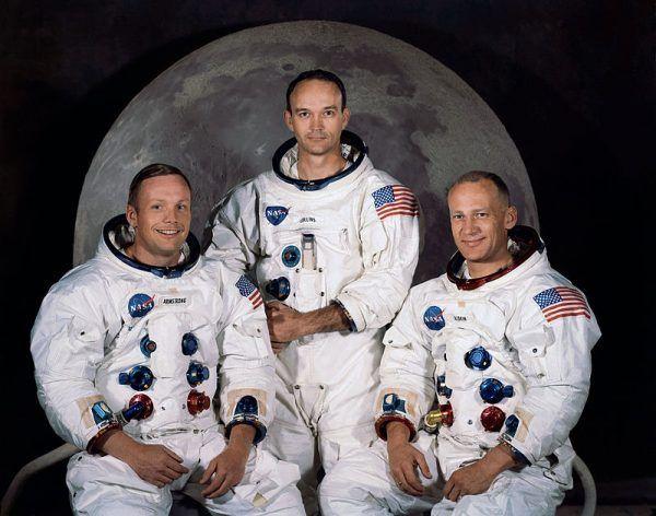 Załoga Apollo 11. Od lewej Neil Armstrong, Michael Collins i Buzz Aldrin. Bez Wernera Ryszarda Kirchnera nie udałaby się ich misja (źródło: domena publiczna).