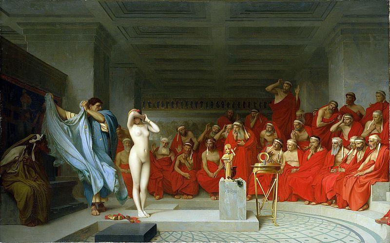 """Agnodike zdecydowała, że zamiast plątać się w zeznaniach. lepiej… zrzucić ubranie. Obraz Jeana-Léona Gérôme'a """"Fryne przed Areopagiem"""" z 1861 roku (źródło: domena publiczna)."""