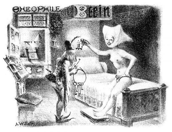 Pseudośredniowieczna karykatura Adolfa Willette z przełomu XIX i XX wieku przedstawiająca kobietę w pasie cnoty i mężczyznę z pękiem kluczy (źródło: domena publiczna).