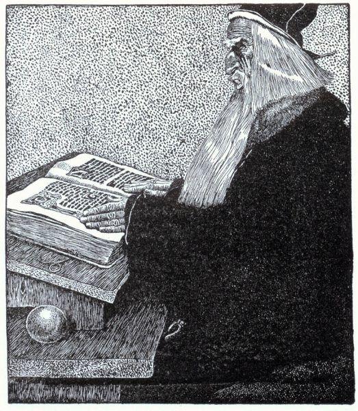 """Merlin czy Ambrosius? Na ilustracji autorstwa Howarda Pyle'a do książki """"Król Artur i Opowieści Okrągłego Stołu"""" (1903) (źródło: domena publiczna)."""