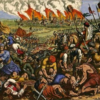 """Battle near Liegnitz (Wahlstatt) on 9th April 1241 (The Mongols under Orda defeat the Polish German knights' army under Duke Henry II. of Silesia). """"Great defeat of the Christians, which they suffered from the Tatars"""". Copper engraving b.Matthäus Merian t.Eld. From: J.L.Gottfried, Historische Chronica, 1630, p.583; later coloured."""