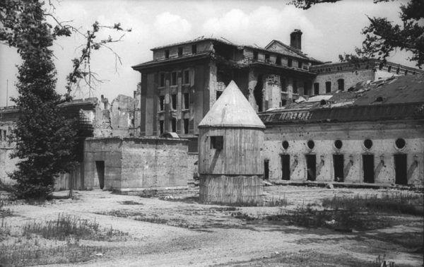 Zniszczony ogród na dziedzińcu Kancelarii Rzeszy w 1947 r. To tu Hitelr po raz ostatni zaczerpnął świeżego powietrza (fot. Bundesarchiv, Bild 183-V04744, CC-BY-SA 3.0).