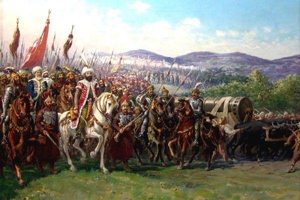 Mehmed II w drodze na podbój Konstantynopola - miasta mającego wówczas już dwa tysiące lat tradycji. Obraz Fausto Zonaro (źródło: domena publiczna).