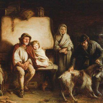 """Skala galicyjskiej nędzy jest dzisiaj trudna do wyobrażenia. Na ilustracji obraz Aleksandra Kotsisa """"Ostatnia chudoba"""" (źródło: domena publiczna)."""
