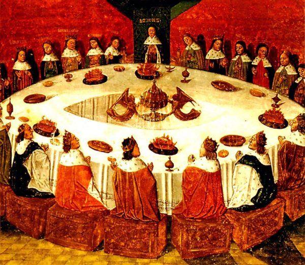 Według średniowiecznych podań, to dzięki czarodziejowi Merlinowi powstał słynny Okrągły Stół, przy którym legendarny król Artur zasiadał ze swoimi rycerzami (źródło: domena publiczna).
