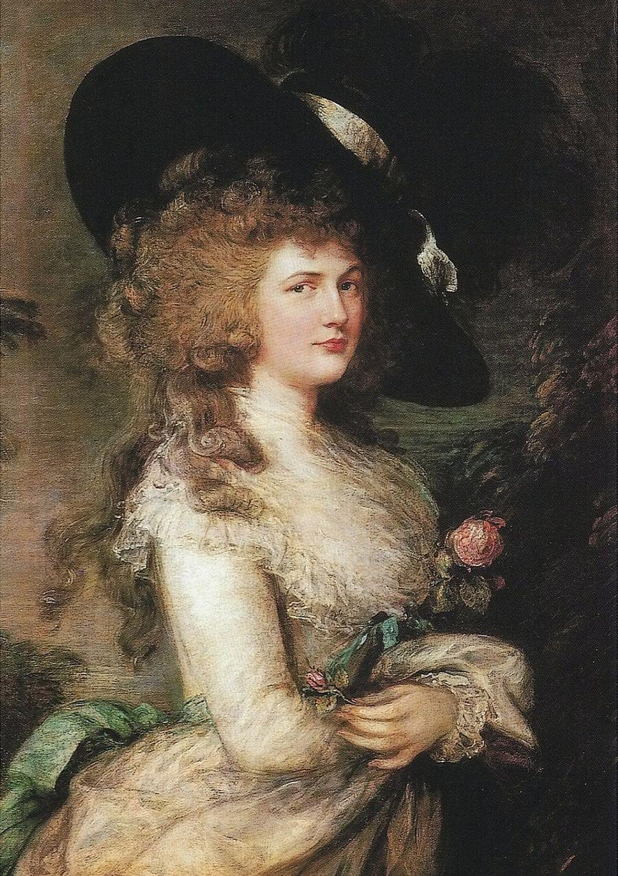 Ten wzrok mówi wszystko. Georgiana Cavendish, księżna Devonshire w wieku ok. 30 lat. Obraz pędzla Thomasa Gainsborougha (źródło: domena publiczna).