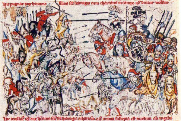 """Bitwa pod Legnicą uwieczniona na kartach spisanej w 1353 roku """"Legendy o świętej Jadwidze"""" (źródło: domena publiczna)."""