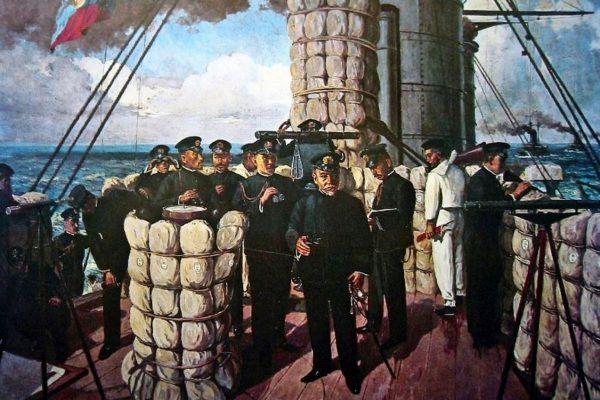 Japończycy podczas bitwy pod Cuszimą. Na obrazie admirał Togo na mostku pancernika Mikasa (źródło: domena publiczna).