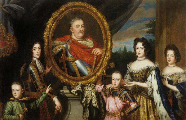 Liczne potomstwo, takie jak u króla Sobieskiego, uważane było za wyraz boskiej łaski, ale jednocześnie groziło degradacją rodu przez podział majątku. Portret rodzinny Jana III wykonany prawdopodobnie przez Henri Gascarda ok. 1691 roku (źródło: domena publiczna).