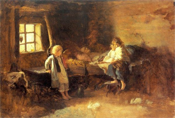 """W drugiej połowie XIX-wieku w Galicji głód zabijał nawet 50 tysięcy osób rocznie! Na ilustracji obraz Aleksandra Kotsisa """"Matula pomarli"""" (źródło: domena publiczna)."""
